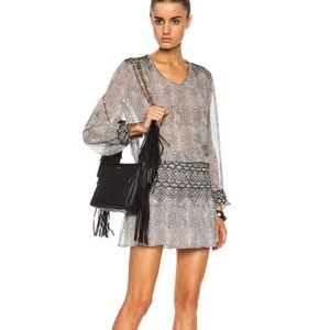 ULLA Johnson Anika Gray Silk Viscose Smocked Dress